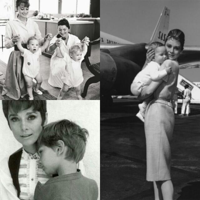 Audrey e os filhos: Sean e Luca Dotti (na segunda foto, de cima para baixo).