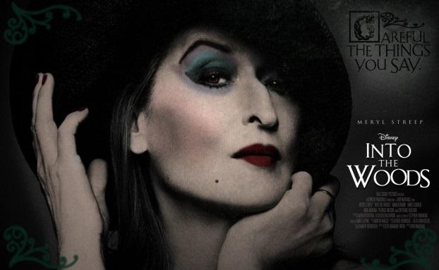 Meryl Streep, como a Bruxa, no cartaz de Caminhos da Floresta
