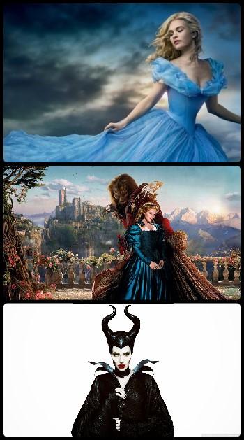As 3 versões com atores dos desenhos da Disney: Cinderela, A Bela e a Fera e Malévola