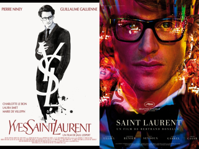 Cartazes de Yves Saint Laurent (2014) e Saint Laurent (2014), respectivamente.