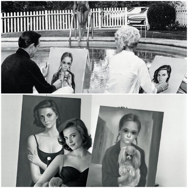 Margaret e Walter Keane pintando (ele fingindo) um quadro da atriz Natalie Wood, e a mesma posando com seus auto-retratos.
