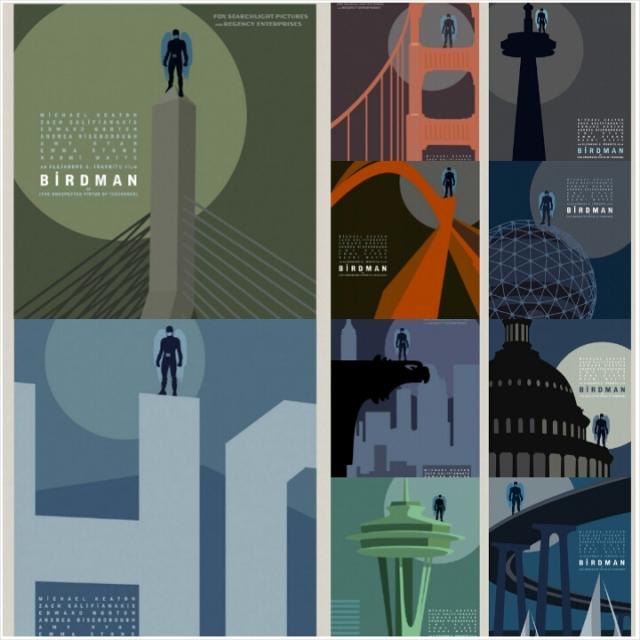Vários dos cartazes de Birdman, retratando o super-herói em diversos pontos conhecidos ao redor do mundo. A primeira imagem parece a ponte estaiada, em São Paulo (será?); a segunda é o letreiro de Hollywood.