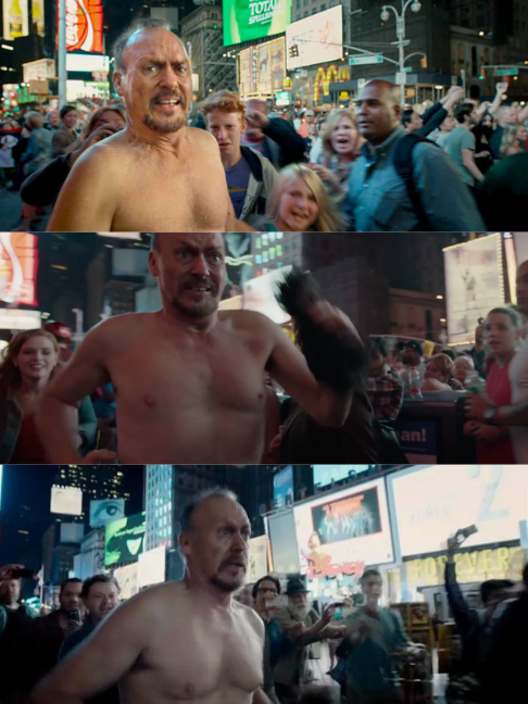 Michael Keaton correndo de cueca pela Times Square